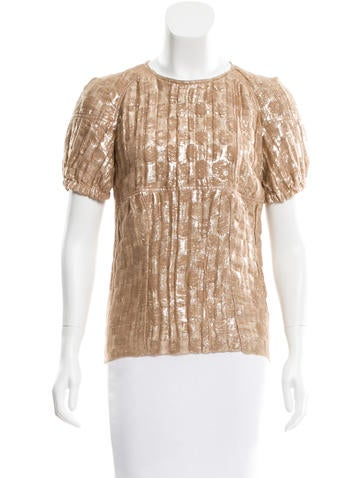 Burberry Metallic Silk-Blend Top None