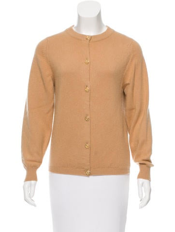 Burberry Rib Knit-Trimmed Crew Neck Cardigan None