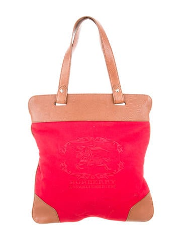 Burberry Leather-Accented Embroidered Canvas Tote