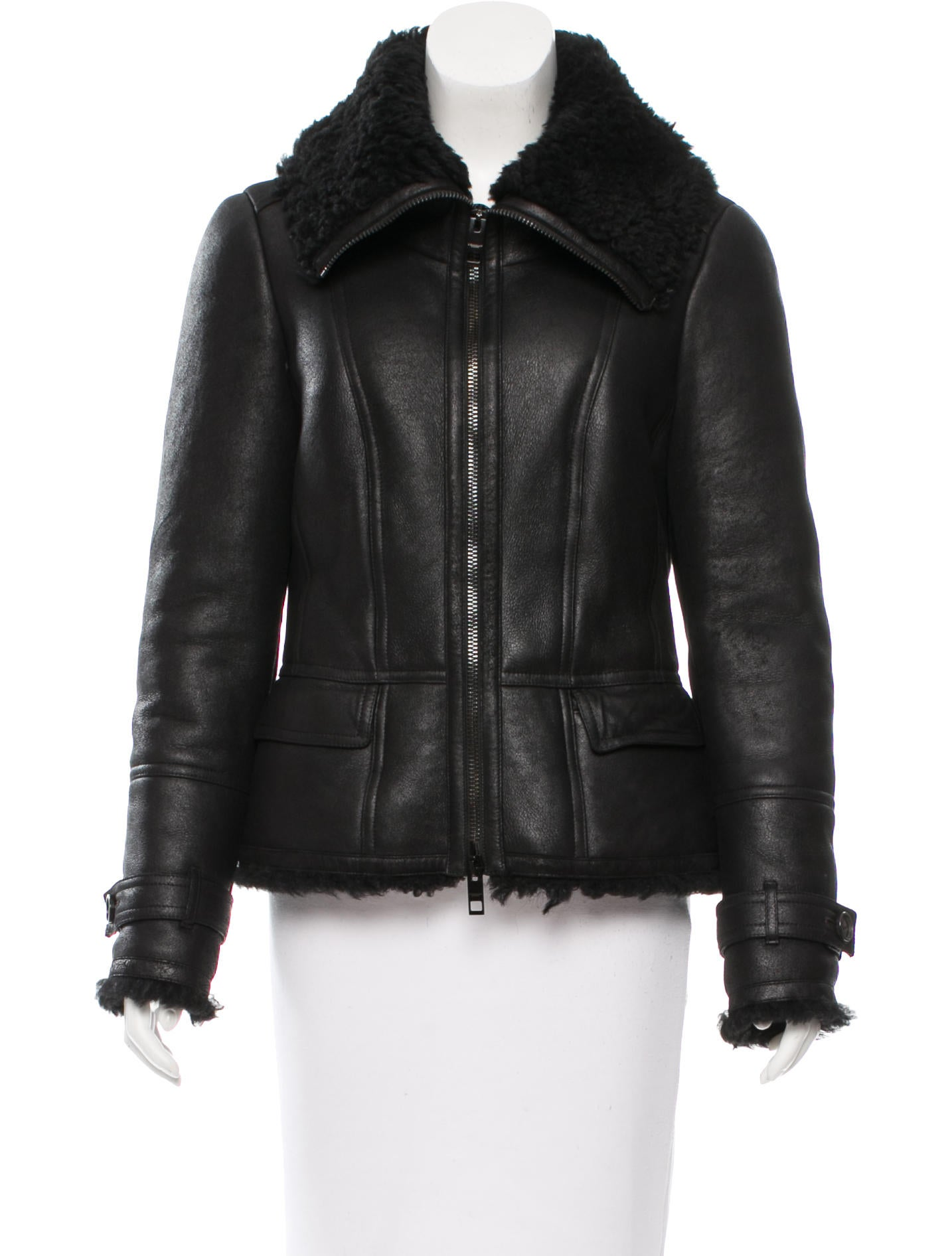 Burberry Shearling Lined Leather Jacket Clothing