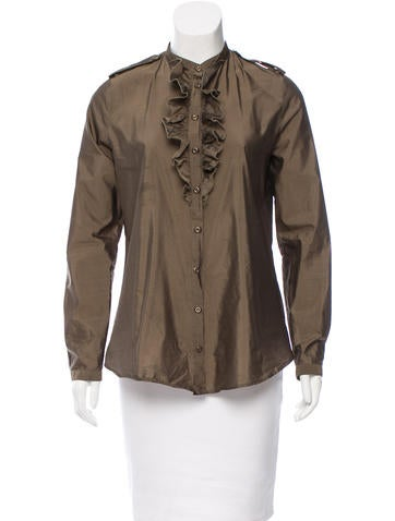 Burberry Ruffled Button-Up Top None