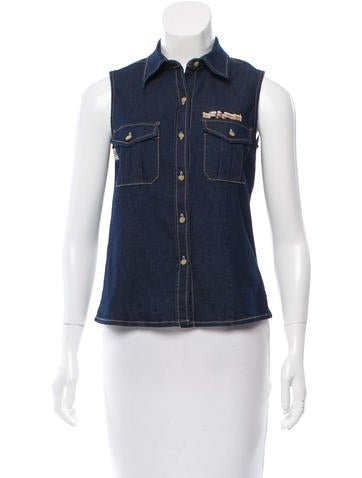 Burberry Denim Sleeveless Top None