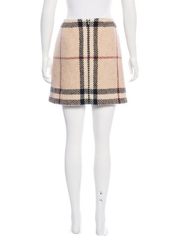 Wool Exploded Check Skirt