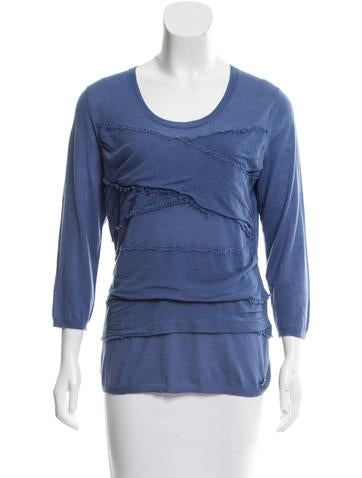 Burberry Cashmere & Silk-Blend Long Sleeve Top None