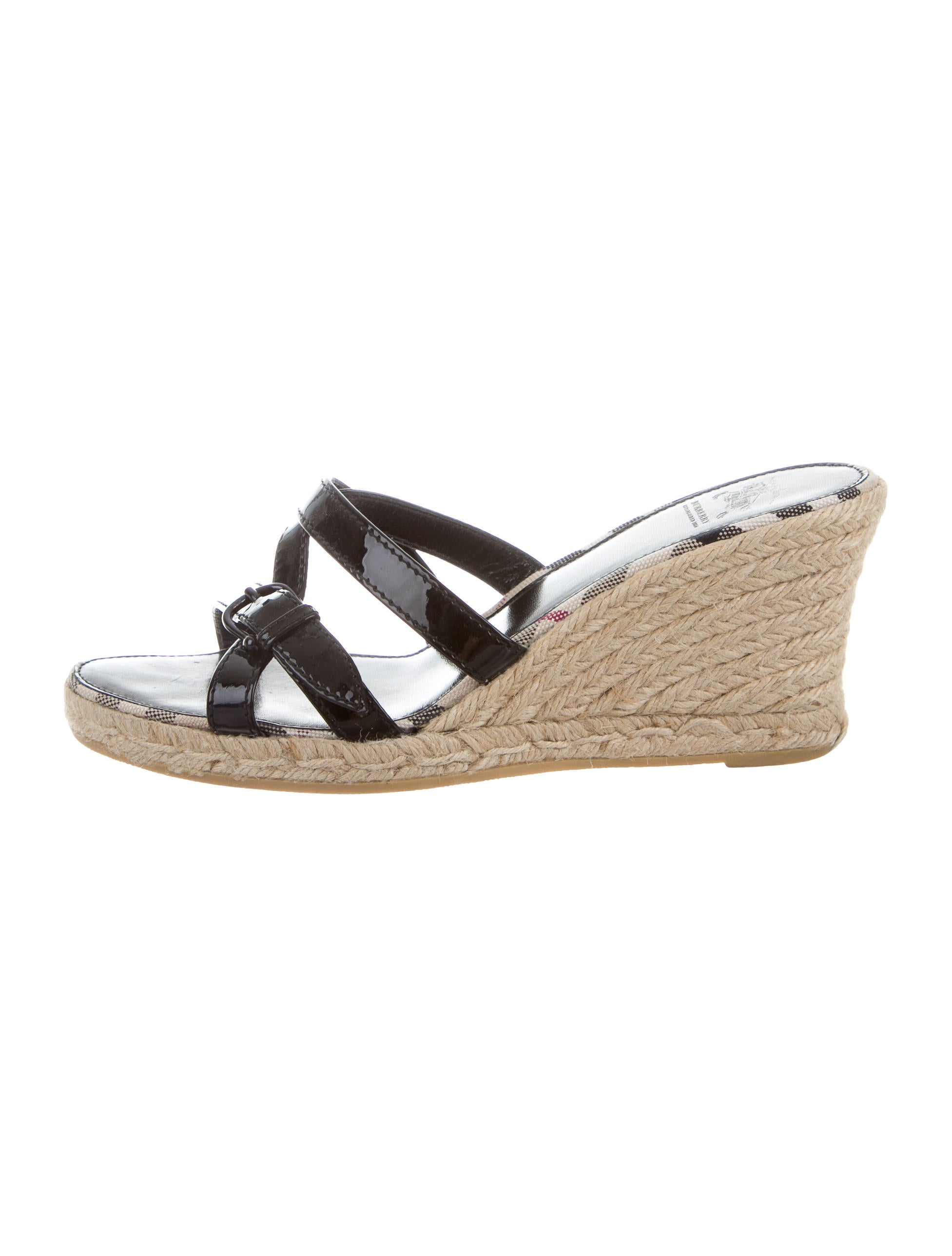 burberry patent leather slide wedges shoes bur65183