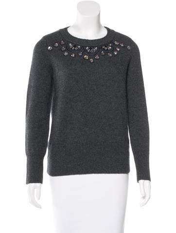 Burberry Embellished Wool-Blend Sweater w/ Tags None