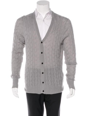 Burberry Embroidered Cable Knit Cardigan None