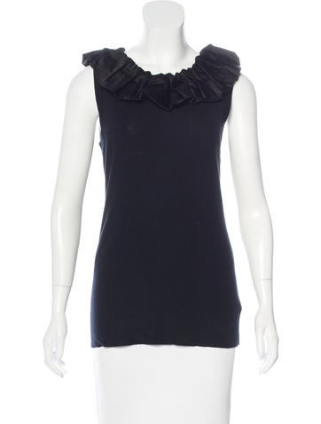 Burberry Ruffle-Trimmed Sleeveless Top None