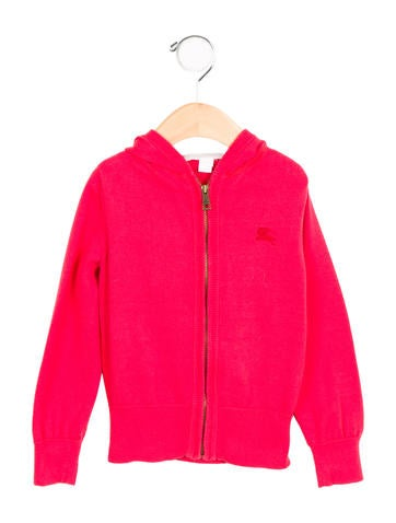 Burberry Girls' Hooded Zip-Up Sweater None