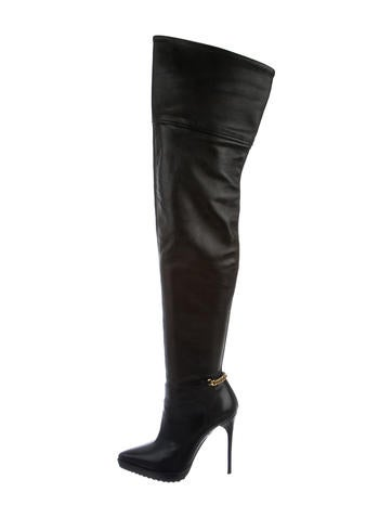 Chain-Embellished Thigh-High Boots