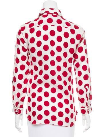 Polka Dot Button-Up Top