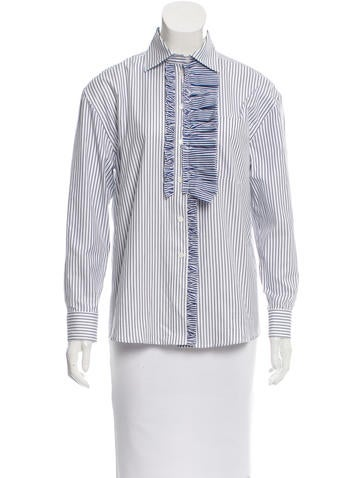 Burberry Ruffle-Trimmed Pinstripe Top None