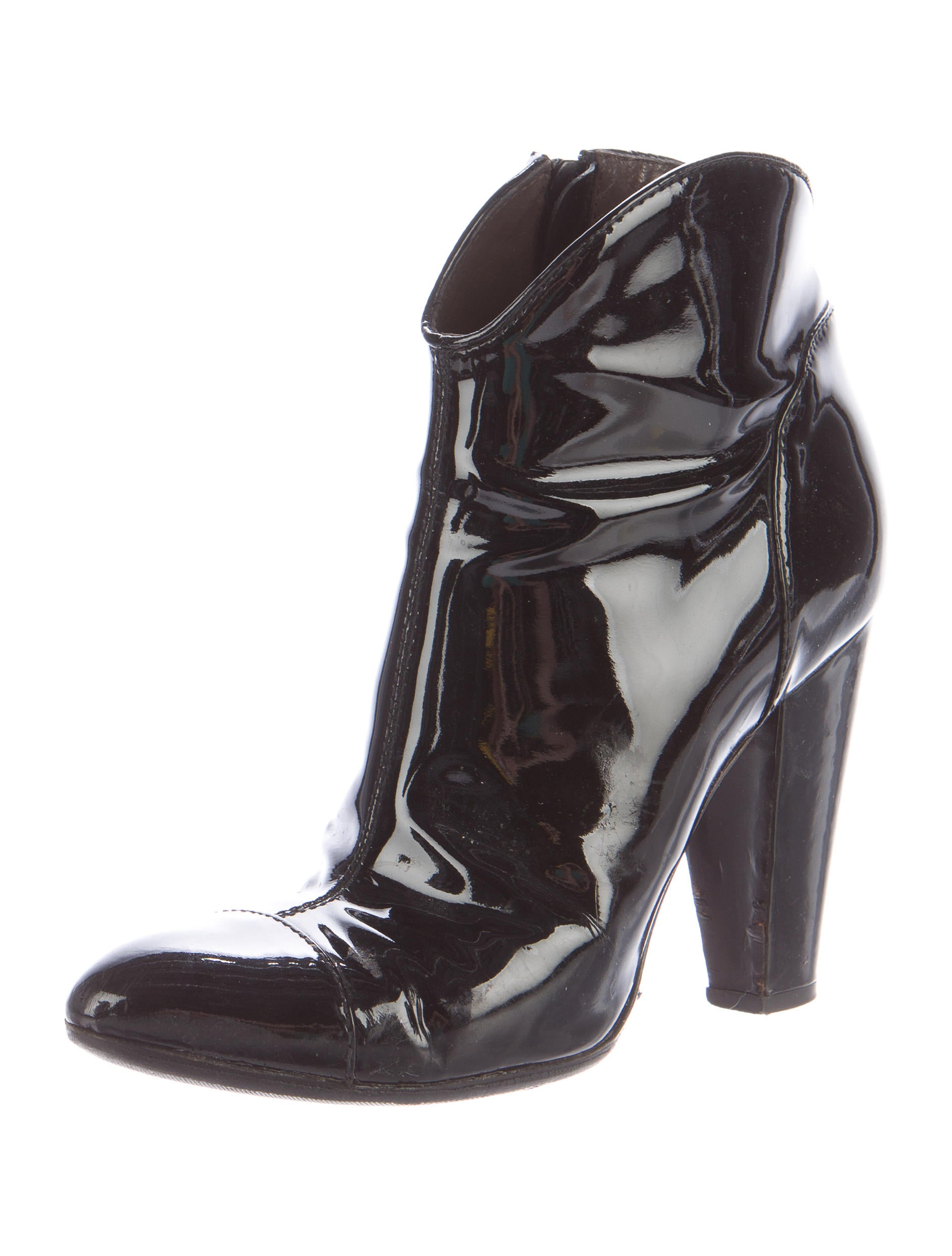 burberry patent leather cap toe ankle boots shoes