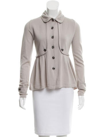 Burberry Pleated Wool Cardigan None
