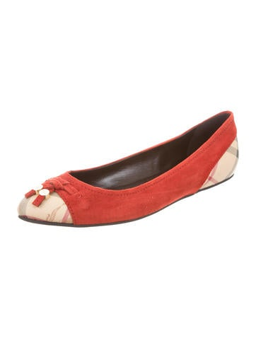 House Check-Trimmed Suede Flats