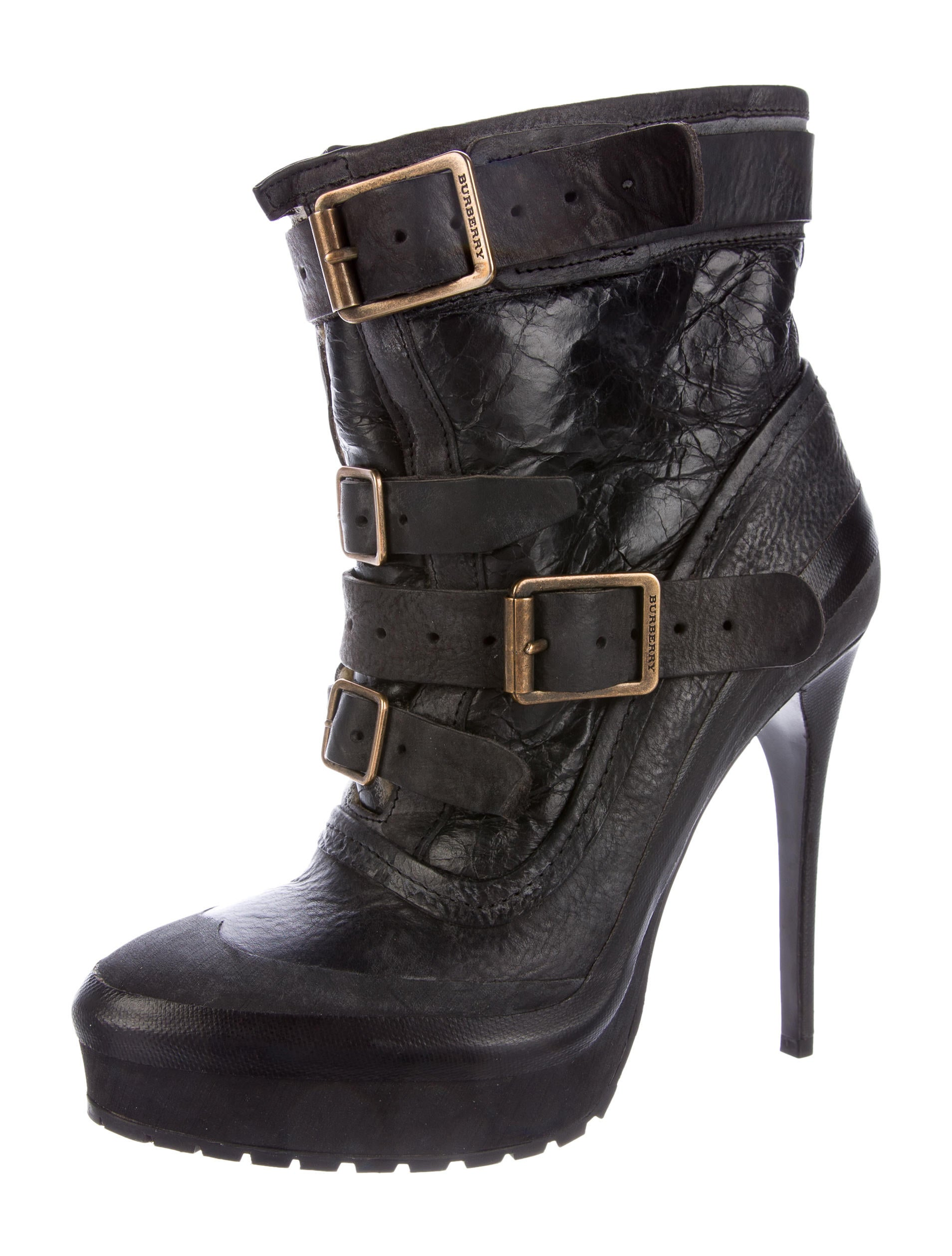 burberry shearling trimmed leather ankle boots shoes