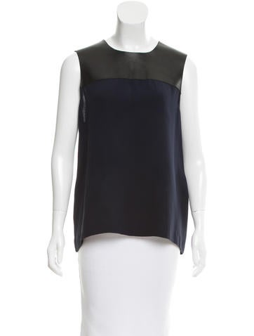 Burberry Leather-Trimmed Silk Top None