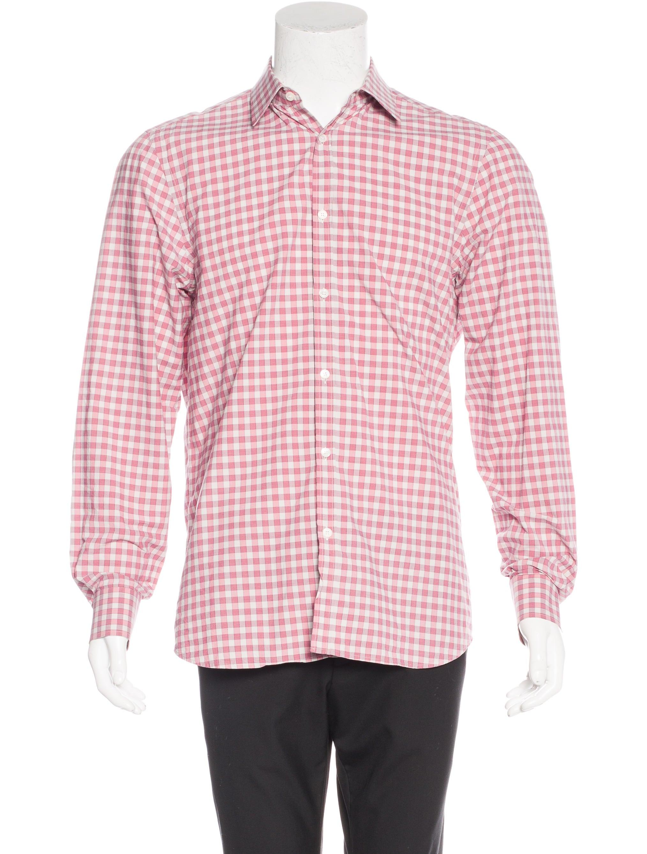 Burberry gingham dress shirt clothing bur69113 the for Men s red gingham dress shirt