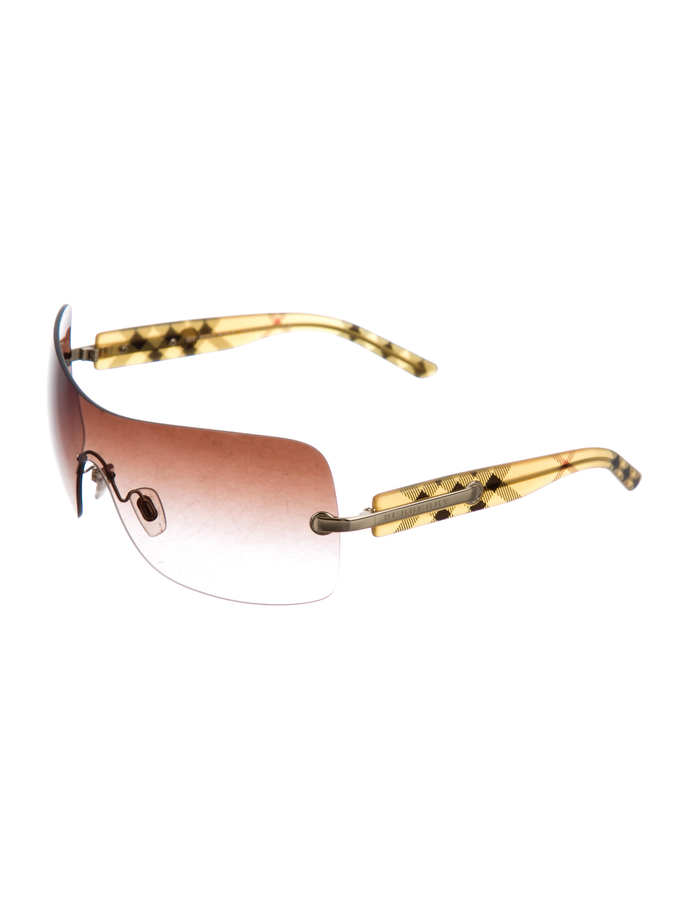 Burberry Rimless Glasses : Burberry Rimless Shield Sunglasses - Accessories ...