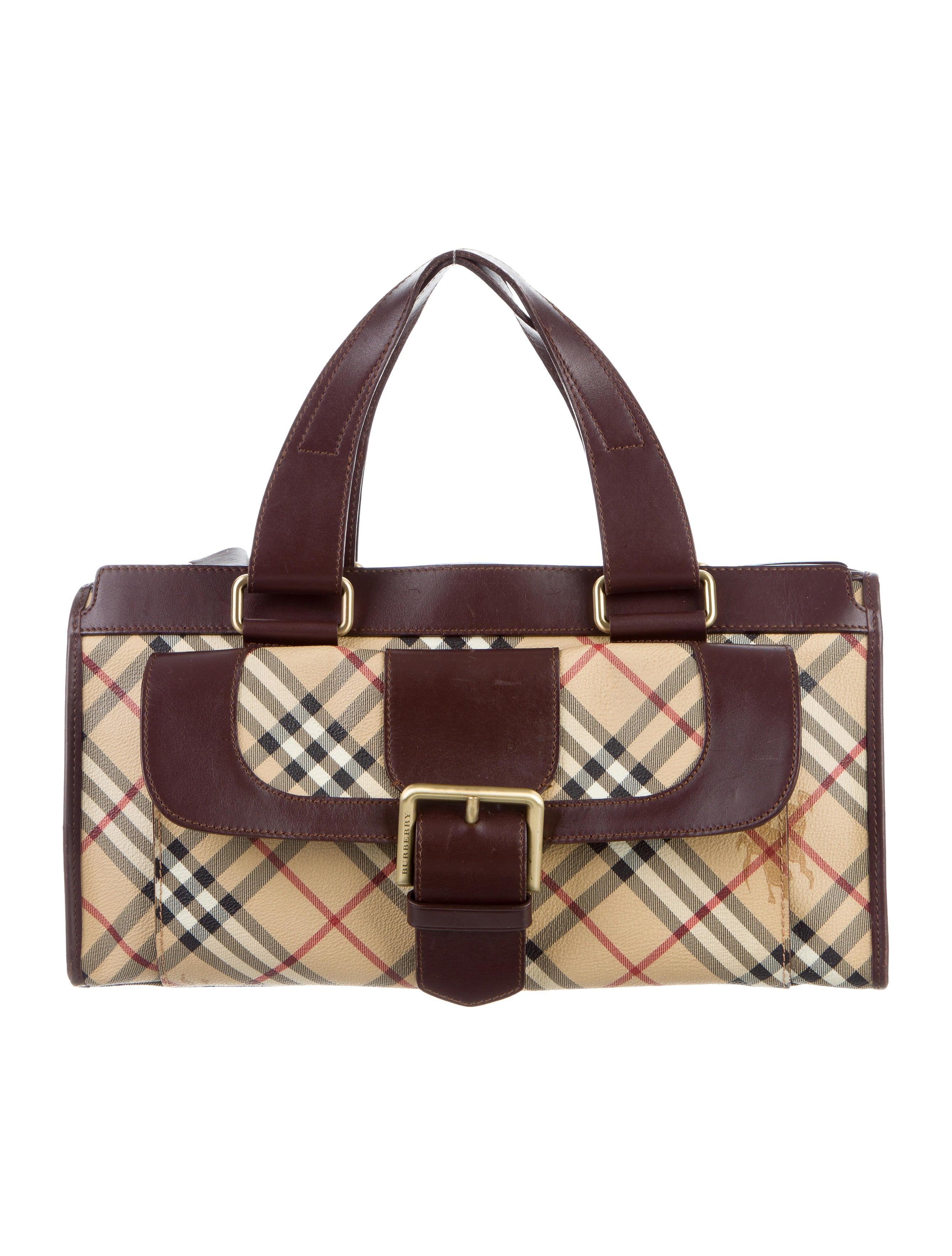 Burberry Leather Trimmed Haymarket Check Bag Handbags