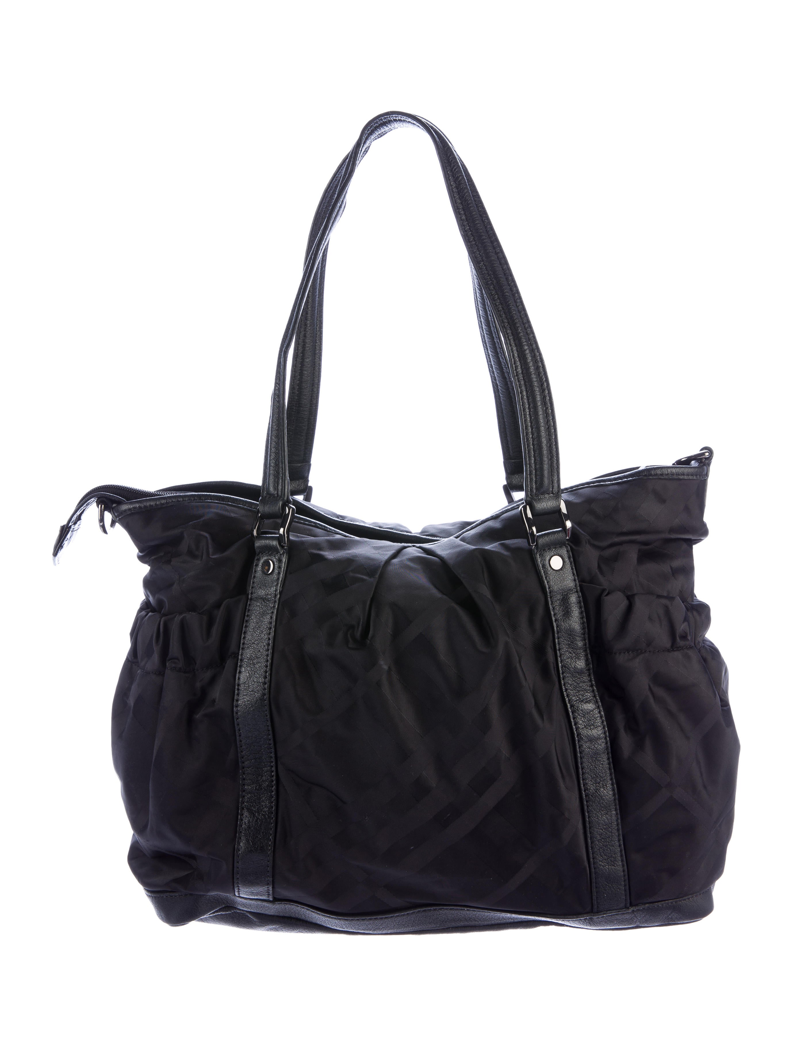 burberry leather trimmed diaper bag handbags bur70606 the realreal. Black Bedroom Furniture Sets. Home Design Ideas