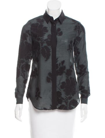 Burberry Wool-Blend Button-Up Top None