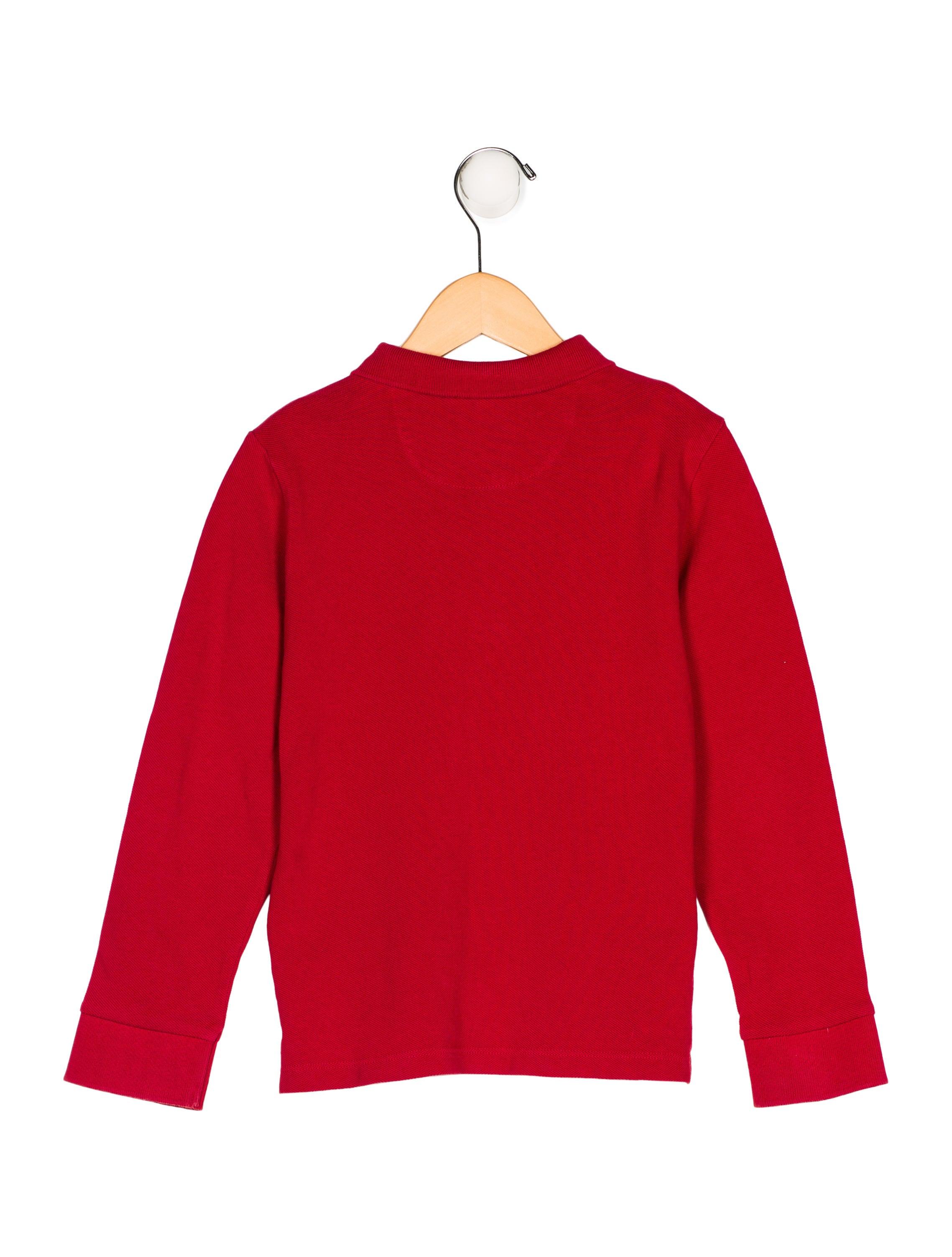 Burberry boys 39 long sleeve polo shirt boys bur72619 for Long sleeved polo shirts for boys
