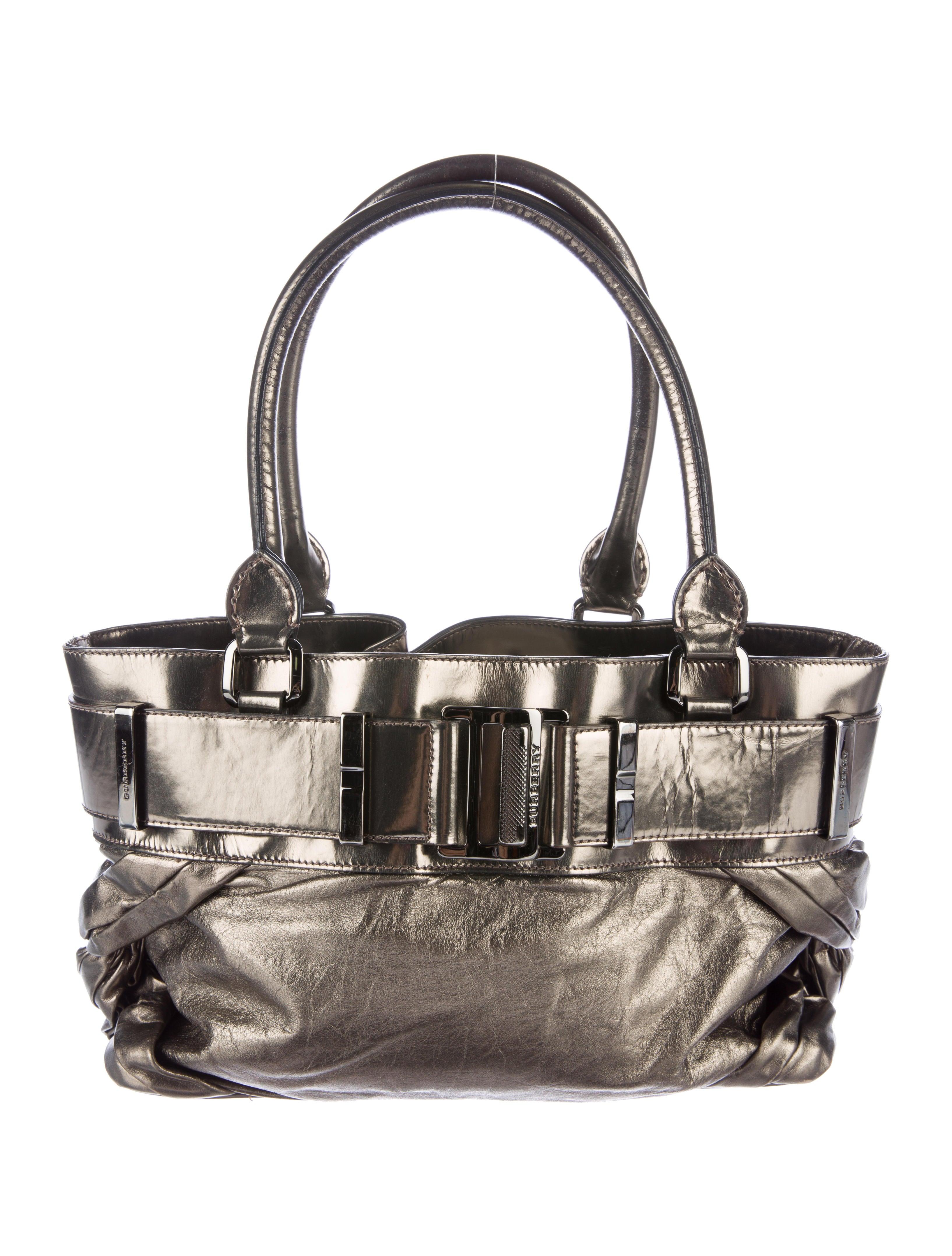 Contemporary Flatware Burberry Metallic Leather Shoulder Bag Handbags