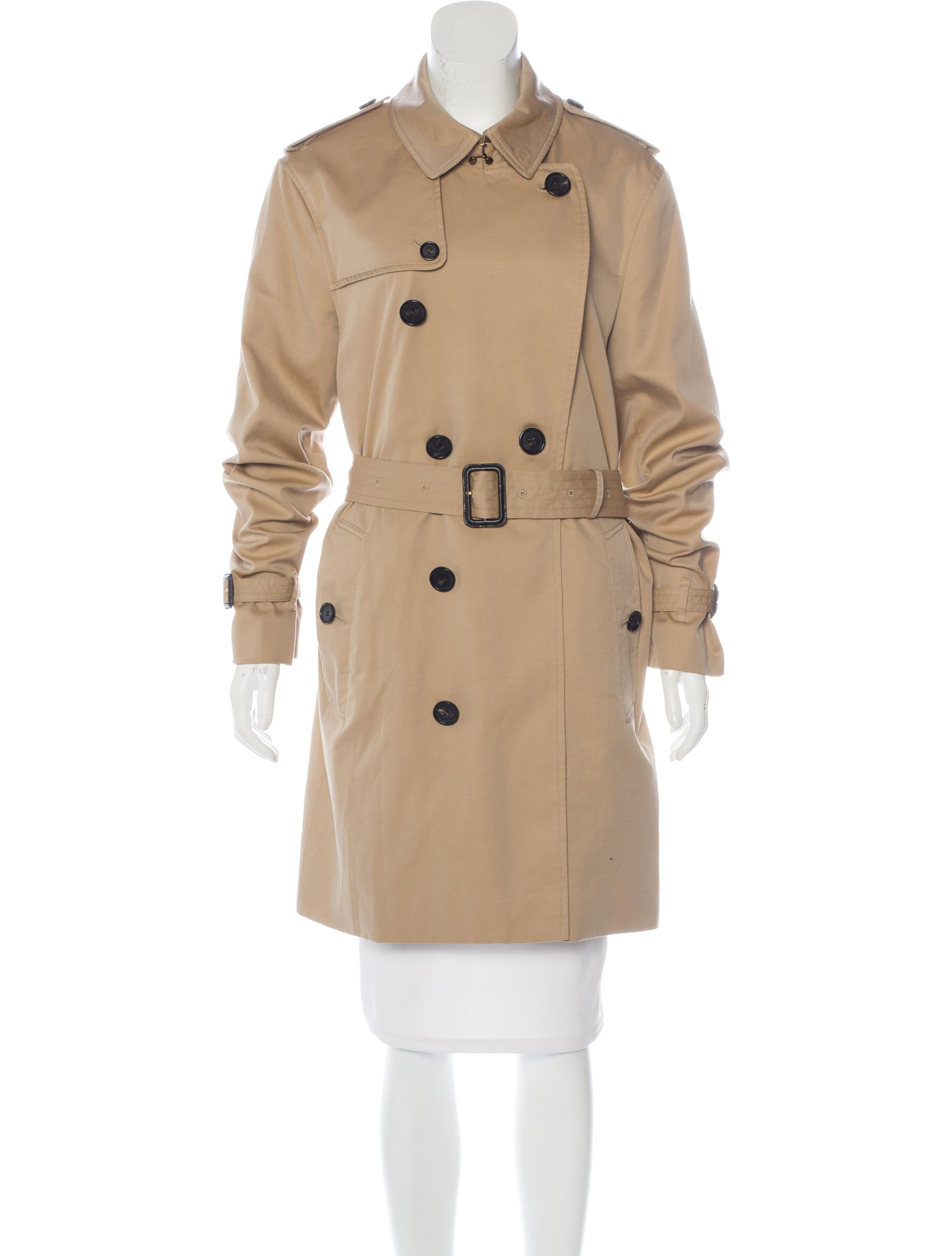 burberry double breasted trench coat clothing bur73291 the realreal. Black Bedroom Furniture Sets. Home Design Ideas