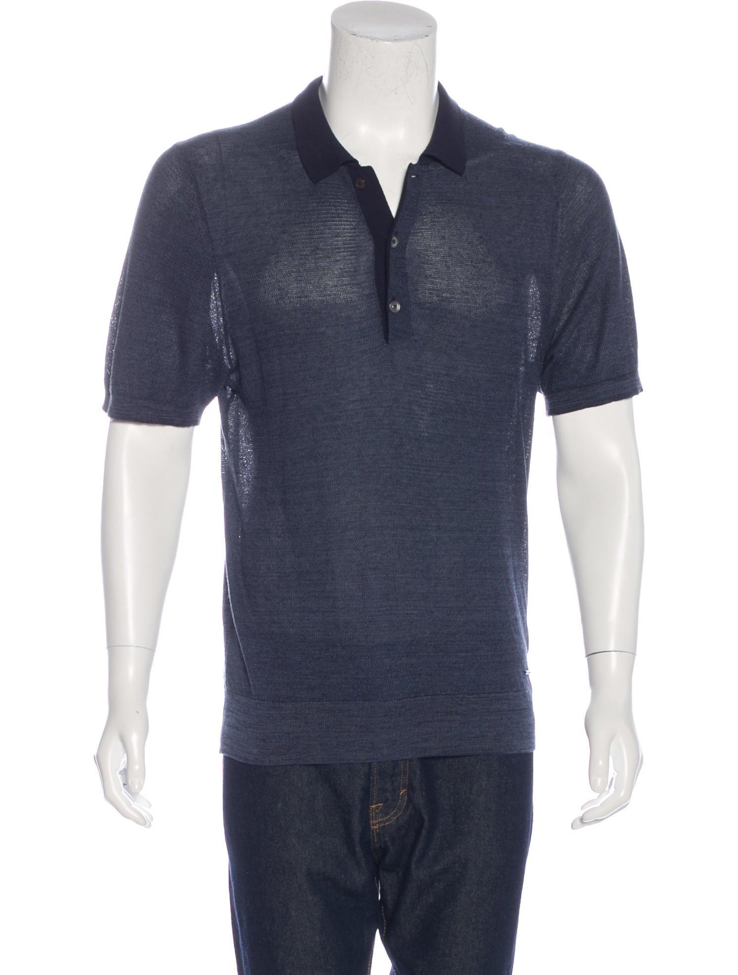 Burberry Silk Blend Polo Shirt Clothing Bur74087 The