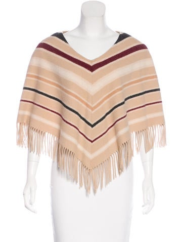 Burberry Wool Fringe-Trimmed Poncho None