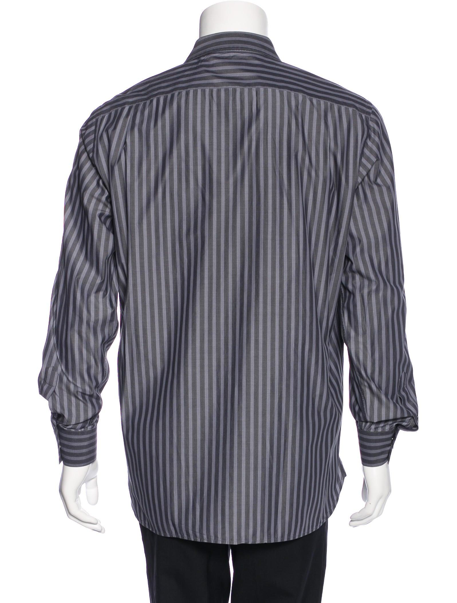 Burberry striped dress shirt mens shirts bur75449 for Mens big and tall burberry shirts