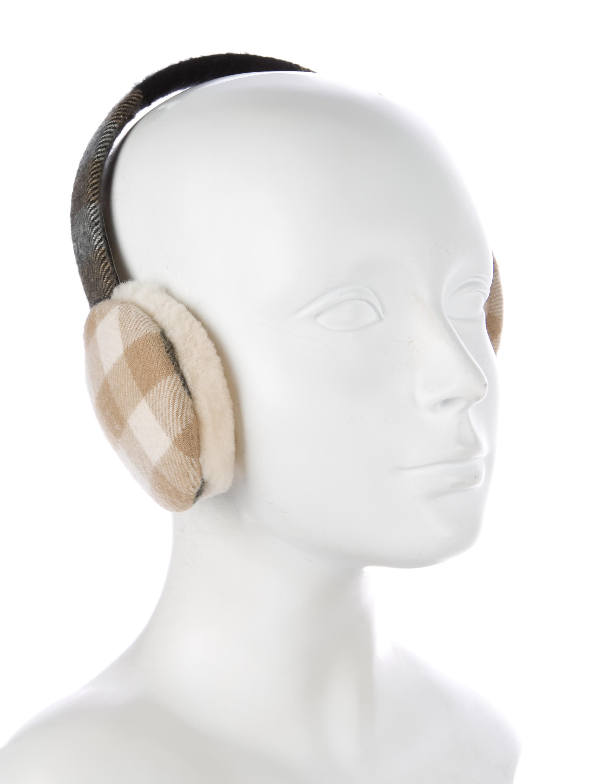 Burberry Nova Check Cashmere Ear Muffs Accessories  : BUR760473enlarged from www.therealreal.com size 2054 x 2710 jpeg 142kB