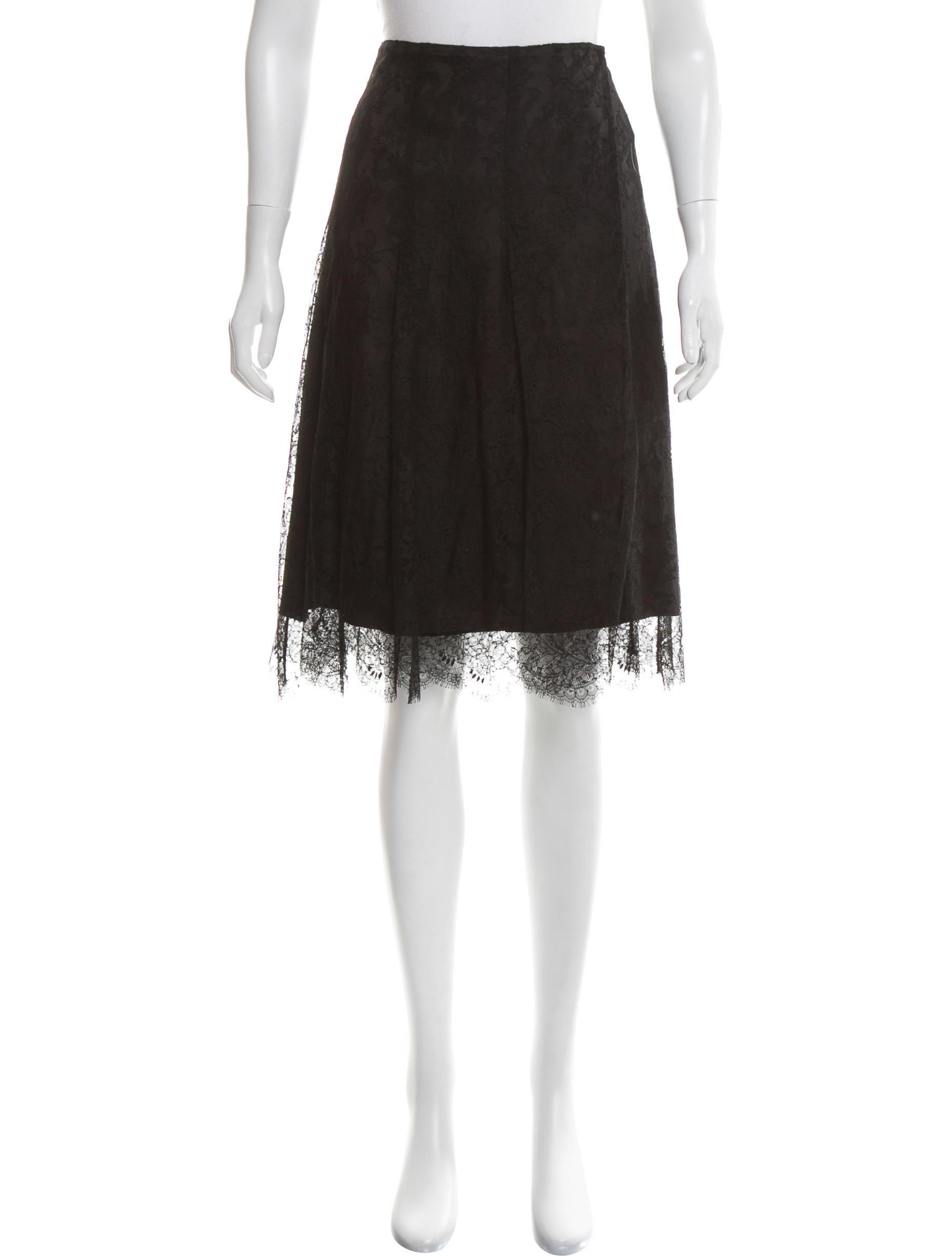 burberry lace knee length skirt clothing bur76129