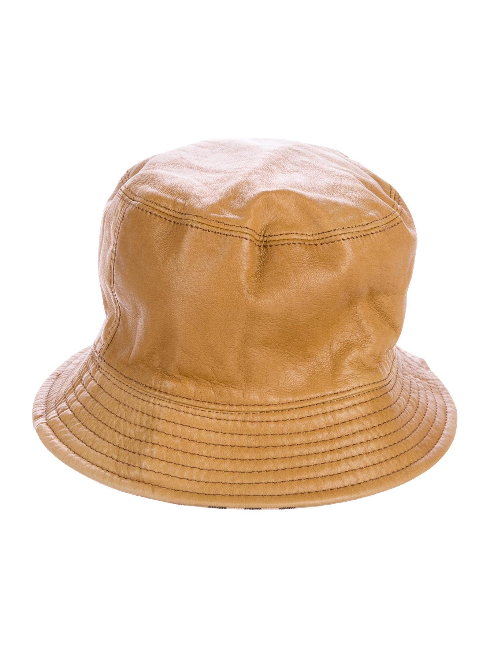 168dc5c1bfc9a Burberry Leather Reversible Bucket Hat - Accessories - BUR77367