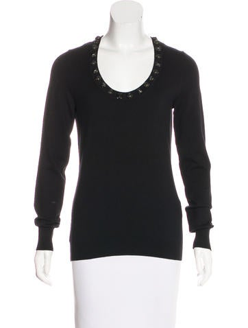 Burberry Embellished Cashmere-Blend Sweater None