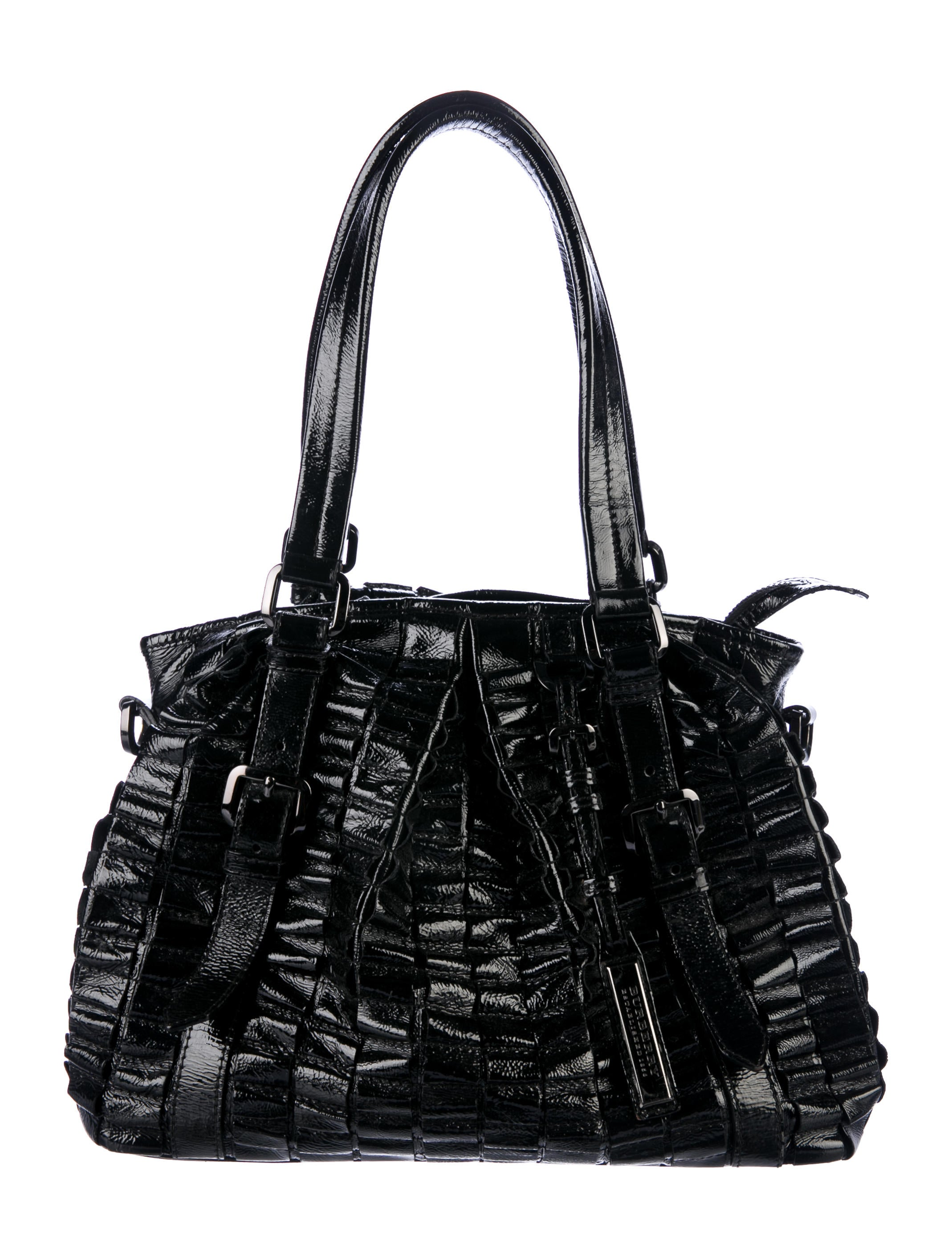3125d50080 Burberry Lowry Ruffled Patent Leather Tote - Handbags - BUR82910   The  RealReal