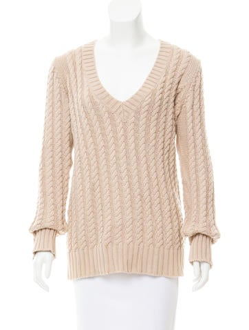 Burberry Cable Knit V-Neck Sweater None
