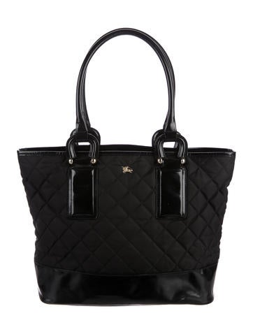 Burberry Leather-Trimmed Quilted Tote - Handbags - BUR84357 | The ... : leather quilted bag - Adamdwight.com
