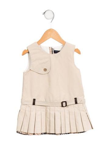 Burberry Girls' Pleated Sleeveless Dress None