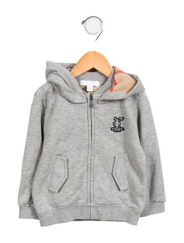 Burberry Boys' Zip-Up Logo Hoodie None