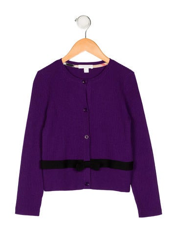 Burberry Girls' Rib Knit Wool Cardigan None