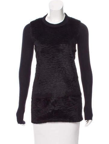Burberry Fur-Paneled Rib Knit Sweater None