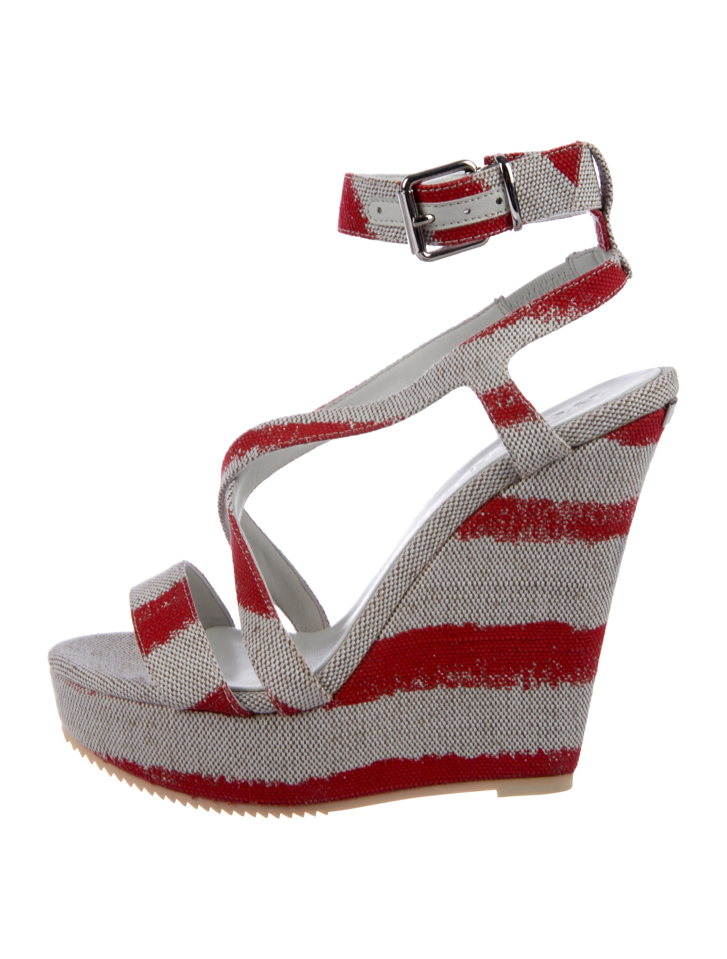 Burberry Canvas Platform Wedges w/ Tags
