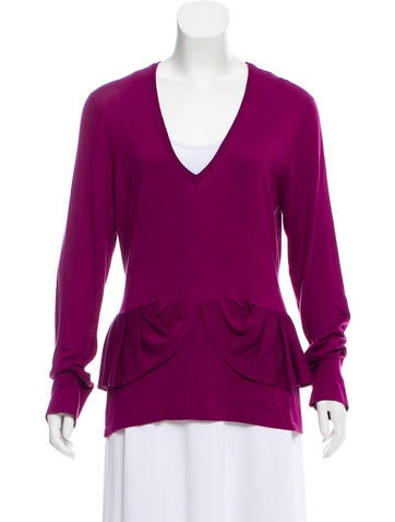 Burberry Ruffle-Trimmed Knit Sweater None