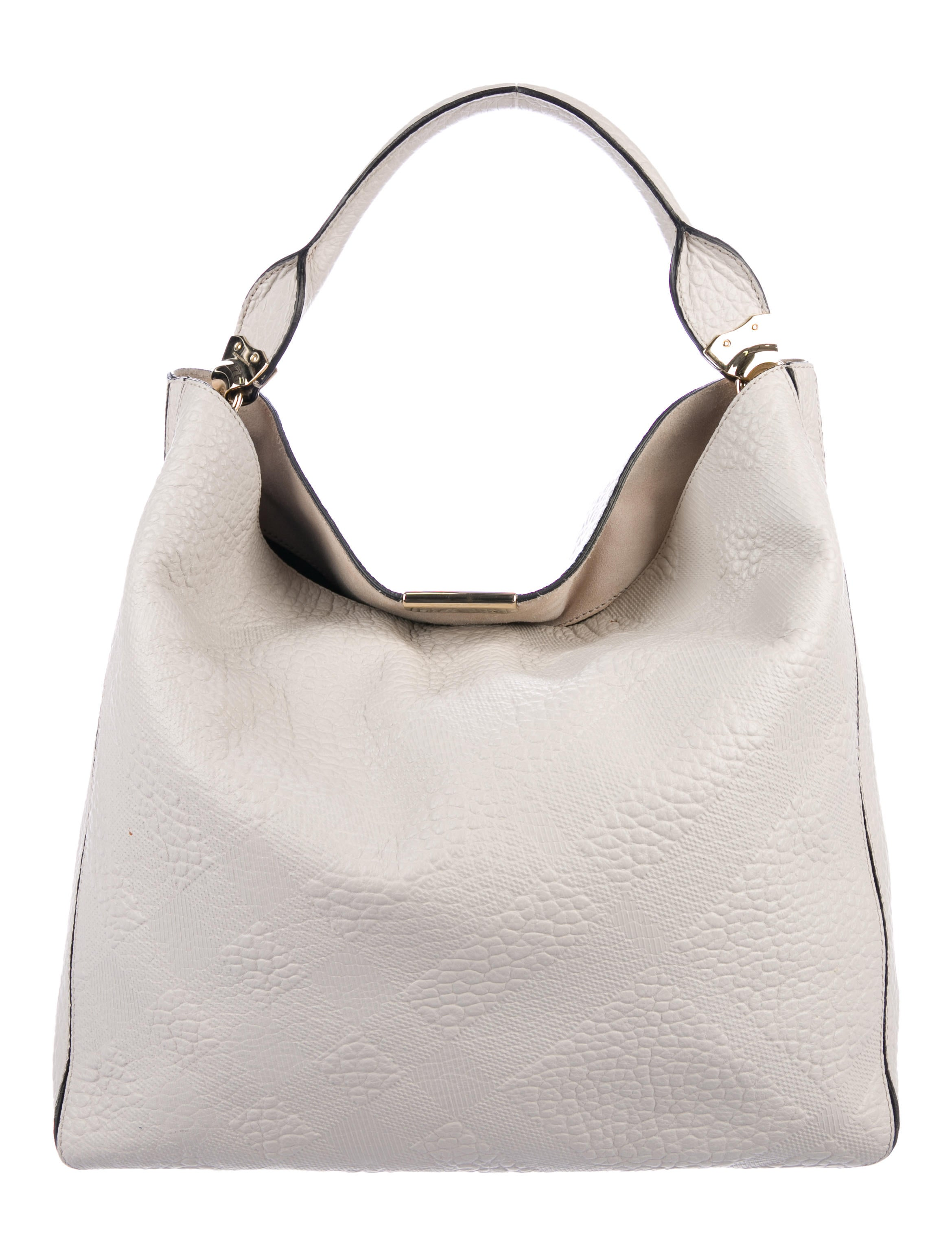 735f9035479 Burberry Embossed Leather Lindburn Hobo - Handbags - BUR92192   The ...