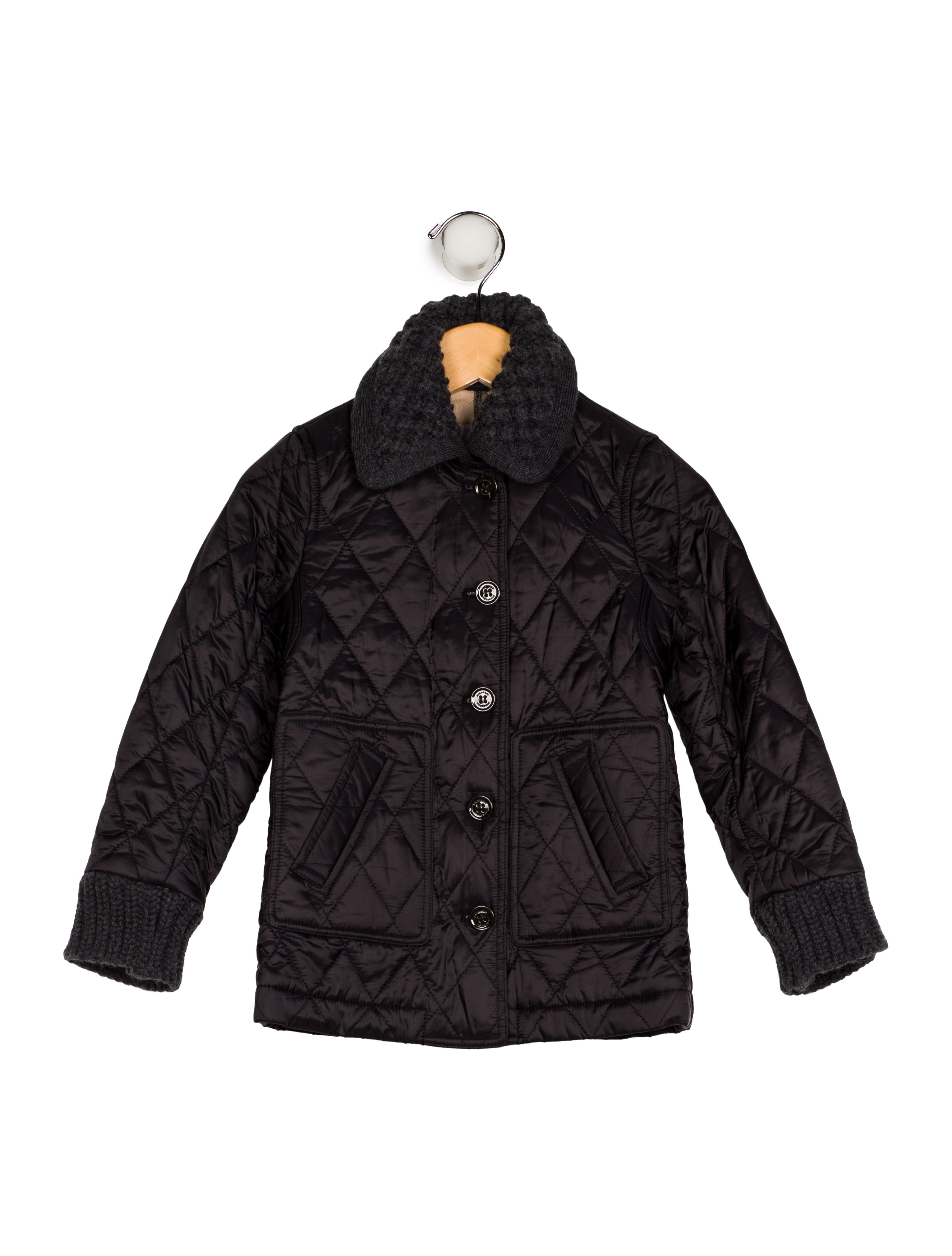 Burberry Girls Collar Quilted Jacket Girls Bur99005 The Realreal