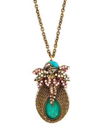 Bijoux Heart Bud Turquoise Pendant Necklace None