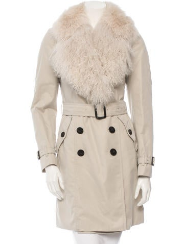London Fur Trimmed Trench Coat