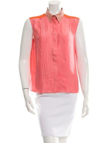 Cacharel Silk Button-Up Top None